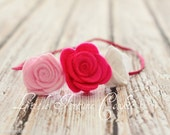 Skinny Elastic Triple Rose Felt Headband Newborn, Infant, Children Teen Adult