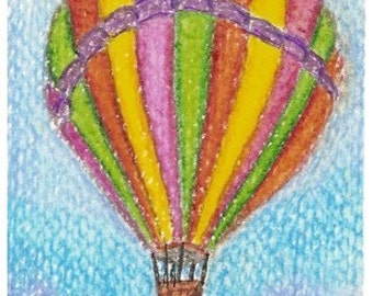 ACEO Challenge, Up Up and Away, balloon, Dawg Team