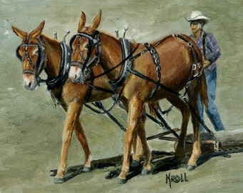 Mules,  mule team in competition, original painting