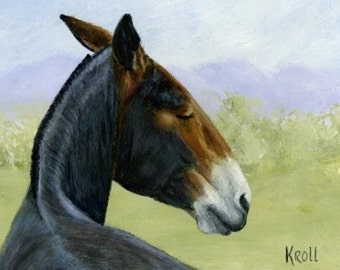 A Mule A Day, sleepy mule ignoring you, original painting