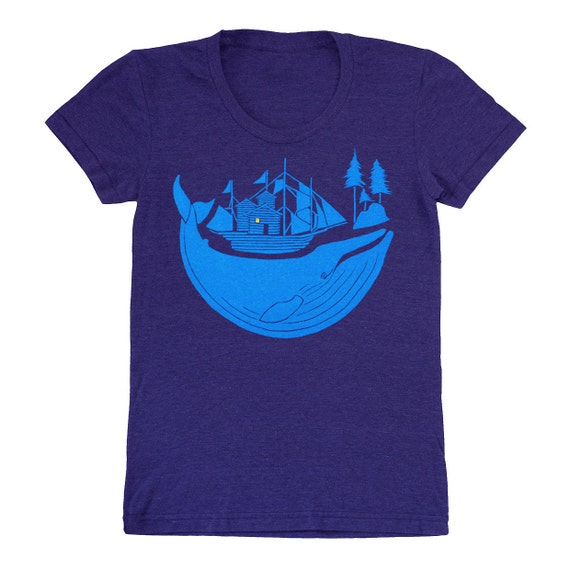 SALE Blue Whale - Womens Girls T-shirt Tee Shirt Boat Ship Log Cabin Nautical Sail Peaceful Ocean Sailing Blue Sea Tri Blend Indigo Tshirt