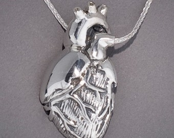Silver Anatomical Half Heart Necklace- ventral view