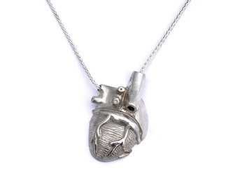 Silver Anatomical Half Heart Necklace- dorsal view