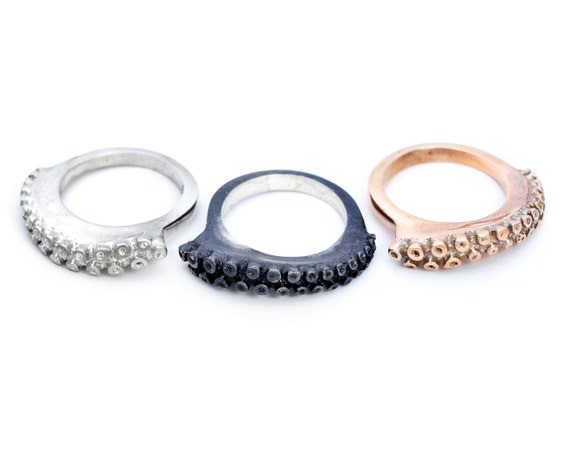 Tentacle Ring Stacking band in polished or black silver