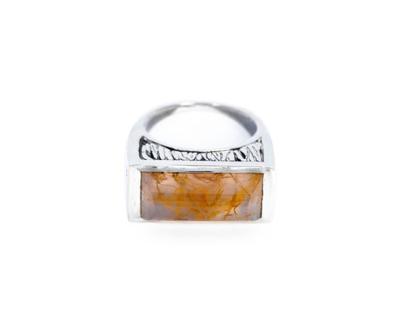 SALE Golden Chalcedony Ring with natural ochre spire-inclusions