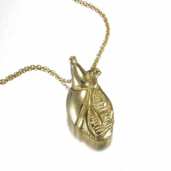 18ky Solid Gold Anatomical Heart Necklace