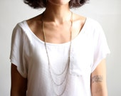 Minimalist Triple Layered Chain Necklace - Antiqued Brass or Silver