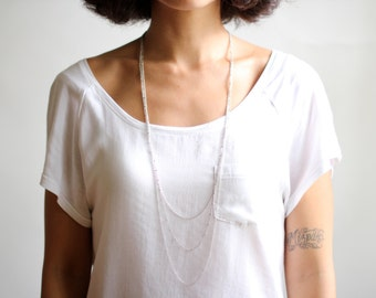 Minimalist Triple Layered Chain Necklace - Antiqued Silver or Brass
