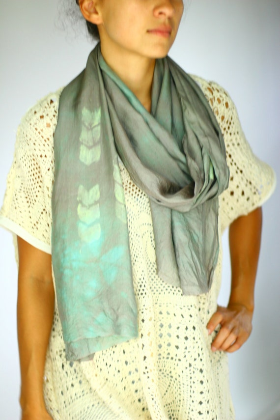 Hand Dyed Silk Scarf - Teal and Olive Marble with Chevron Print