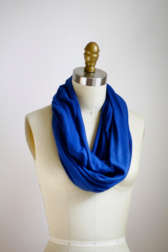 Eco Friendly Hand Dyed Circle Scarf - Organic Bamboo Cotton - Navy Blue