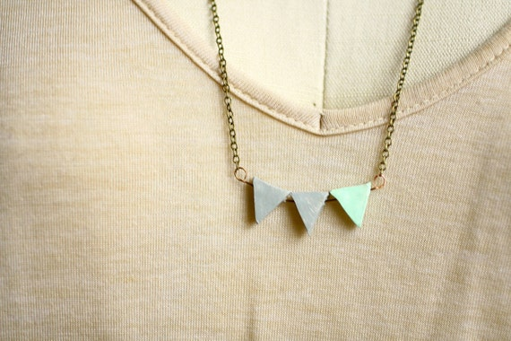RESERVED for jfarah - Geometric Triangle Necklace - Vintage Oxidized Brass - Minimalist Gray and Mint