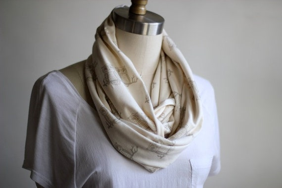 Organic Owls Circle Scarf - Off White and Dove Gray
