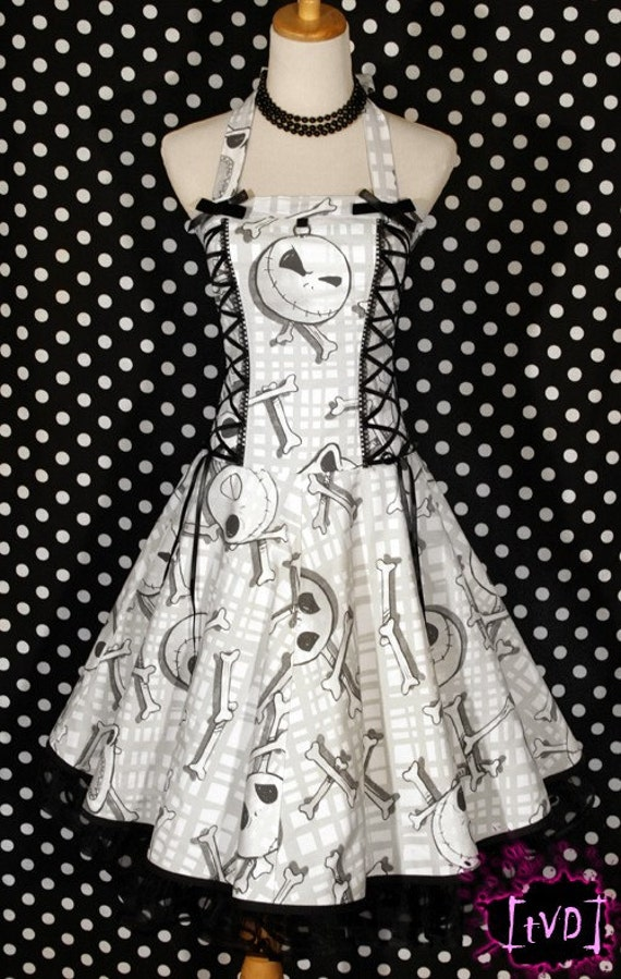 Nightmare Before Christmas Jack Heads Plaid Corset Halter Dress DIY