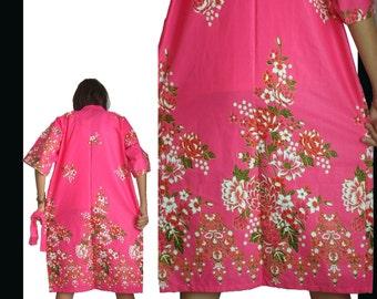 SALE Love Hote Pink Kimono Batik Floral Long Robe Xs - M (R118)