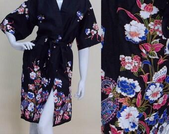 Black White Kimono Batik Floral Long Bath Robe Xs - M