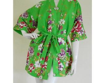 Lime Green Flowers Gold  Thai Batik Bridesmaid Batik Floral Robe Floral Daughter Short Bath Robe M-XL  (SR104)