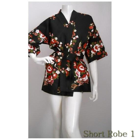 Black  Flower Kimono Batik Floral Short Robe S - L