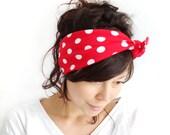 Tie Up Headscarf // Rockabilly Headscarf // Hair Wrap // Polka Dot Headband // Red with White Polka Dot