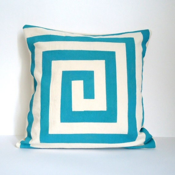 Hand Painted Graphic Lines Cushion Blue