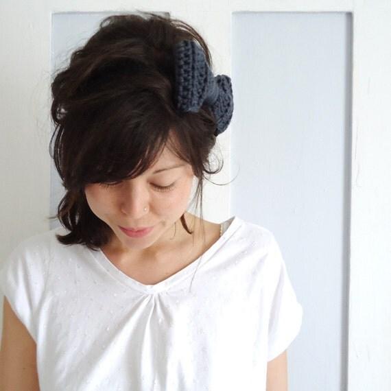 SALE Crochet Bow Hair Band Charcoal Grey