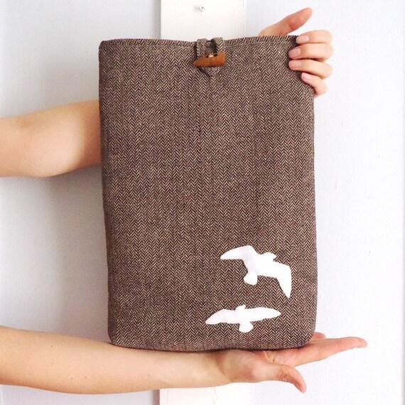 """SALE Brown Tweed 13"""" MacBook Pro Padded Sleeve with Birds"""