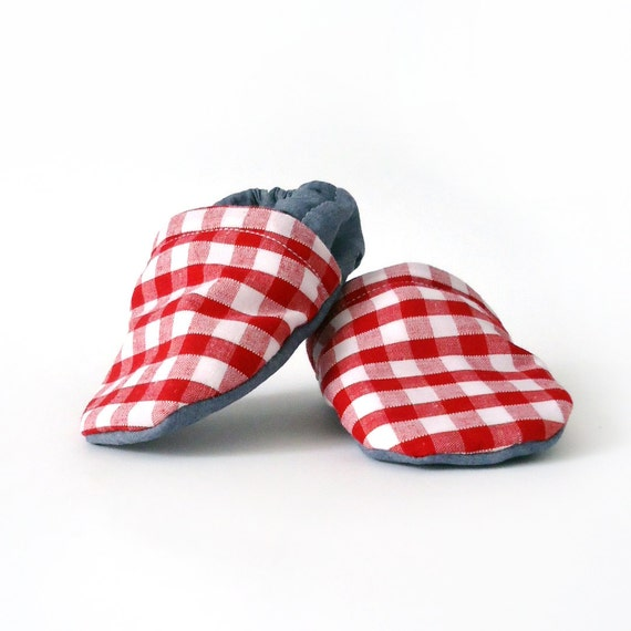 SALE Baby Booties Denim and Red Gingham