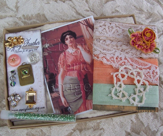 Vintage & contemporary adornments for crazy quilts, fabric art, collage ... Coral and Celery Green Embellishment Inspiration Kit 3, Series 2