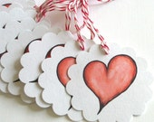 Red, White and Black Heart Tags - Set of 10 Gift Tags