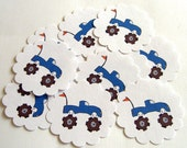 Blue Monster Truck Embellishments/Tags/Favors - Set of 10 Party Favor Tags