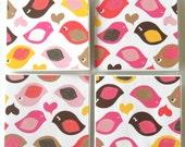 Glittery Birds In Love - Mini Valentine Love Notes - Set of 4 Mini Cards