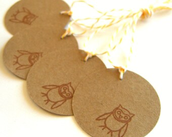 Wide-Eyed Owl Tags - Set of 4 Gift Tags