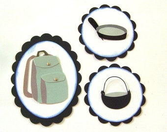 Backpacking/Camping Embellishments - Set of 3 Scrapbook Embellishments