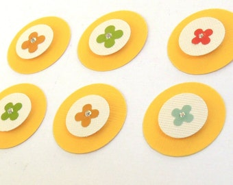 Tiny Flower Embellishments/Favors/Tags - Set of 6 Scrapbook Embellishments