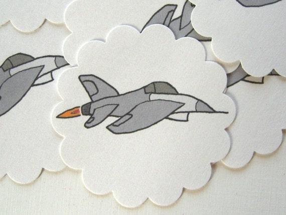 Fighter Jet Embellishments/Tags/Favors - Set of 10