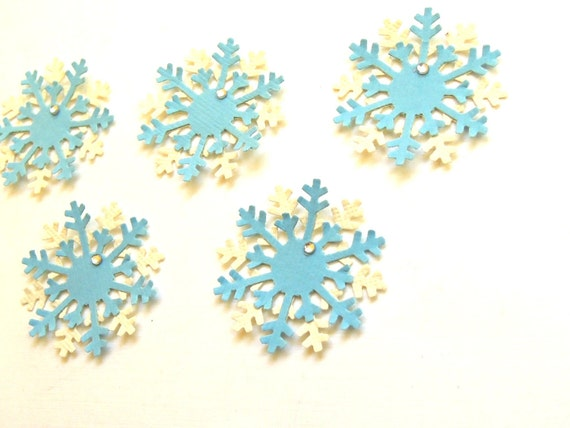 Fields of Snowflakes - The Ice Blue Collection - Set of 5 Scrapbook Embellishments
