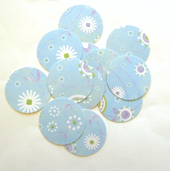 Blue Flowers Card Stock Circles - Set of 12 Punched Circles