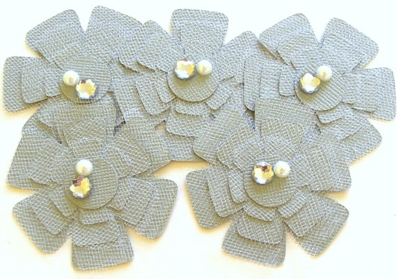 Silver and Tulle Flowers  - Set of 5