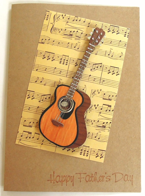 Acoustic Guitar - Handmade Father's Day Greeting Card