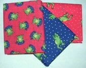 Frog Theme Fat Quarter Collection,  3 Print Set, (Pre-Cut), Quilting, Sewing, Craft Supply