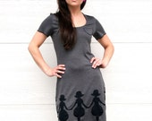 SALE Small Charcoal Gray Paper Doll T-Shirt Dress by Duchess von Dudik