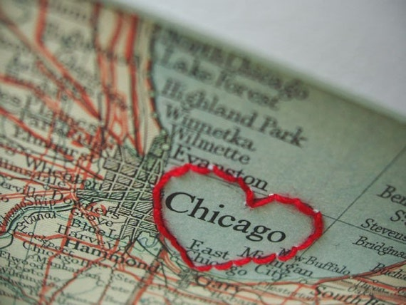 I Heart Chicago - embroidered vintage map