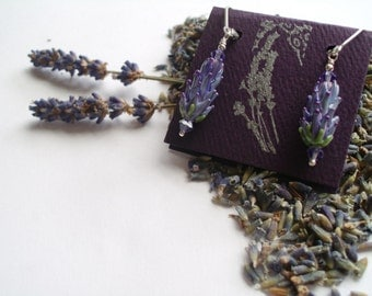 Lavender Glass Bead Earrings in Purple Rose Color with Dried Lavender Sachet Buds - Wholesale Lot