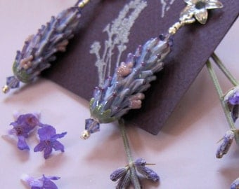 Lavender Glass Bead Earrings in Purple Rose Color in Bloom with Lavender Sachet Buds