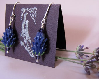 Lavender Earrings, Botanical Jewelry, Inspired by Lavender Fields, Handcrafted Glass Silver Dangle Earrings in Lavender Sachet Gift Box