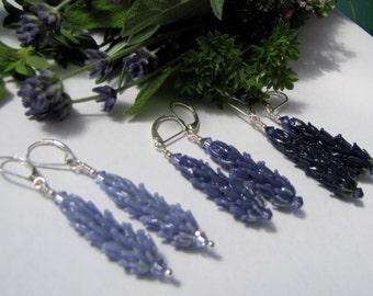 Lavender Lampwork Glass Bead Dangle Earrings in Pale Purple, Periwinkle or Dark Blue Glass