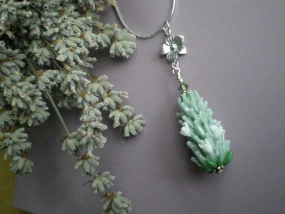 Lavender Glass Bead Pendant in Green in Medium Size with Summer Blooms and French Lavender Sachet Buds