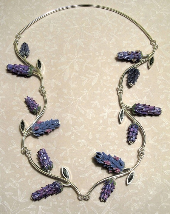 Custom Bridal Jewelry The Communal Garden Lavender Glass Beads and Silver Necklace