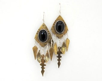 Onyx talisman earrings