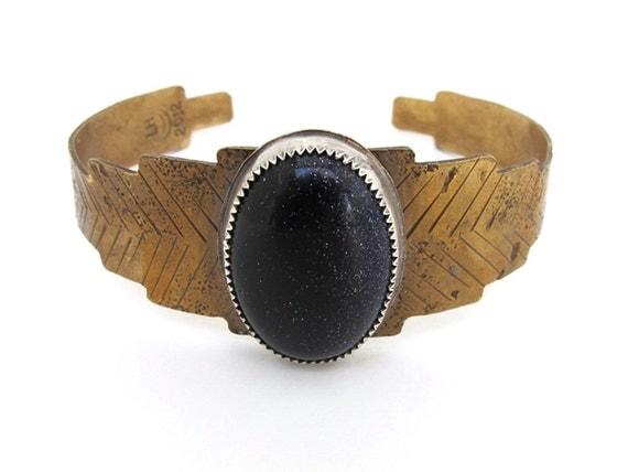 Blue goldstone sunburst cuff