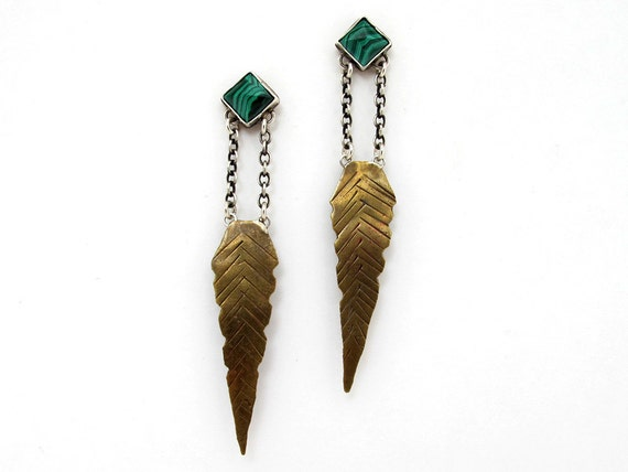 Malachite feather earrings